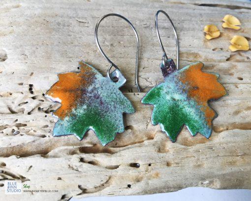 coppe enamel maple leaf earrings