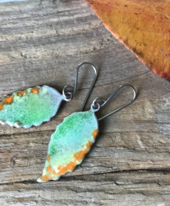 enameled copper leaf earrings