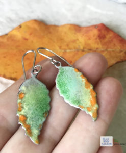 enameled copper fall leaf earrings