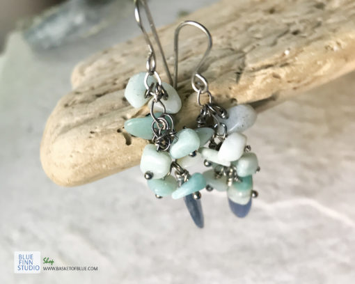 blue kyanite dangle cluster earrings