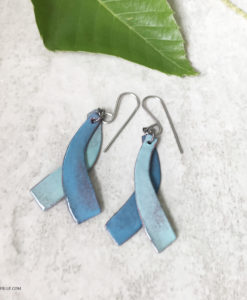 blue green double dangle enamel earrings