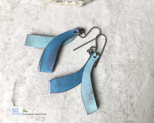 blue green double dangle enamel earrings