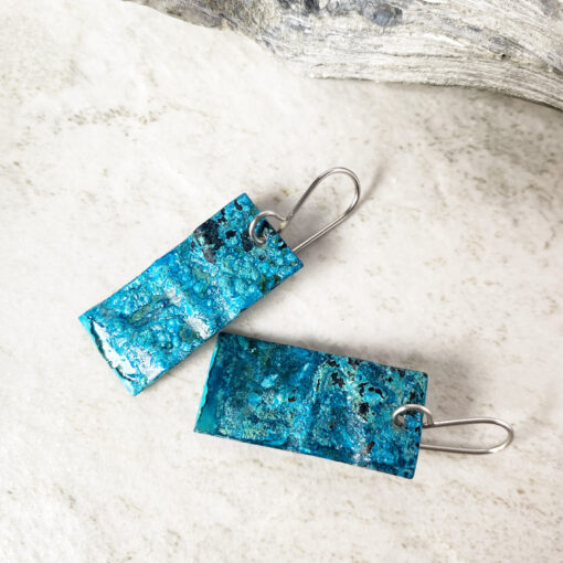 copper patina rectangle earrings