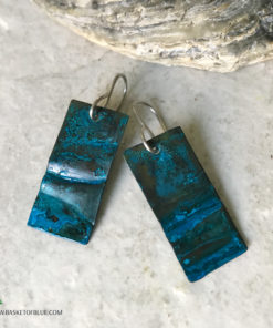 blue patina copper earrings