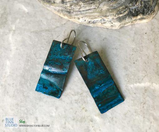 blue patina copper earrings