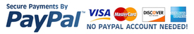 Paypal secure checkout - Credit cards accepted