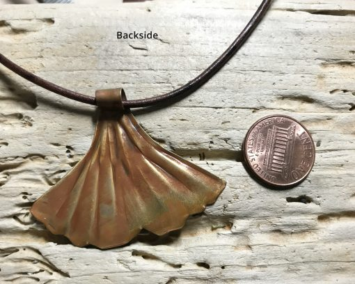 Flame painted copper Ginkgo Leaf Necklace