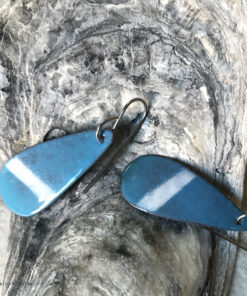 blue and white long enamel oval earrings
