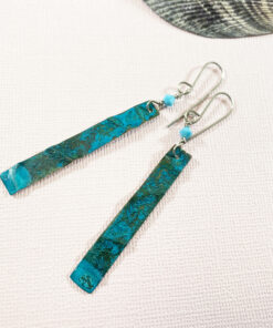 long green verdigris copper patina earrings swarovski turquoise