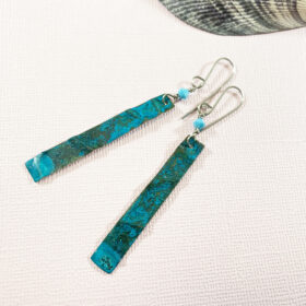 long green verdigris copper patina earrings swarovski turquoise