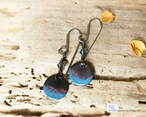 blue round enameled copper dangle earrings