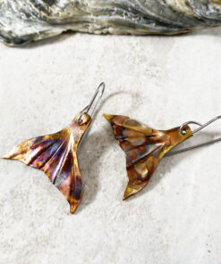 copper mermaid tail earrings