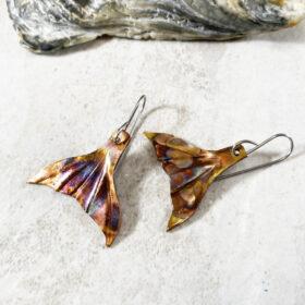 copper mermaid tail earrings