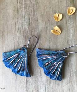 BLUE PATINA MERMAID TAIL EARRINGS
