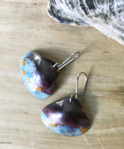 blue rustic enameled copper shell earrings