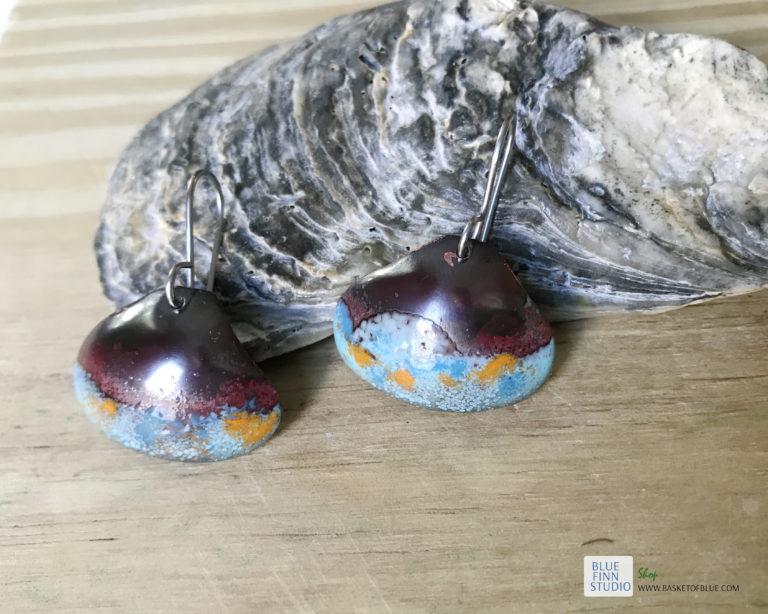 blue rustic enameled copper shell earrings
