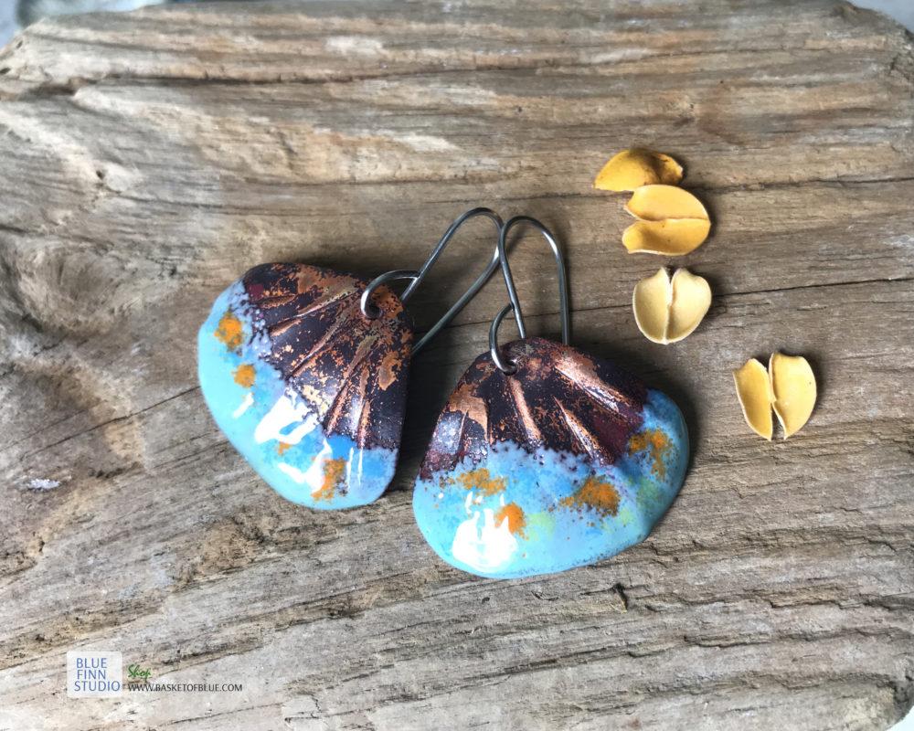 blue shell enamel earrings