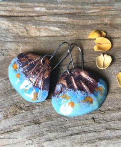 blue shell enamel earrings