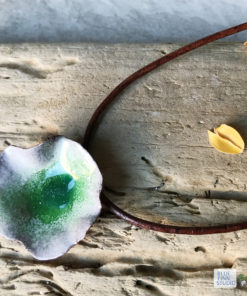 green flower pod enamel necklace
