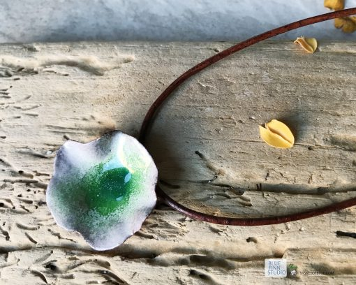 green flower pod enamel necklace