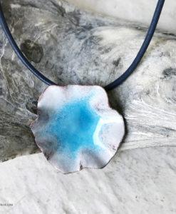 blue enamel water pod pendant