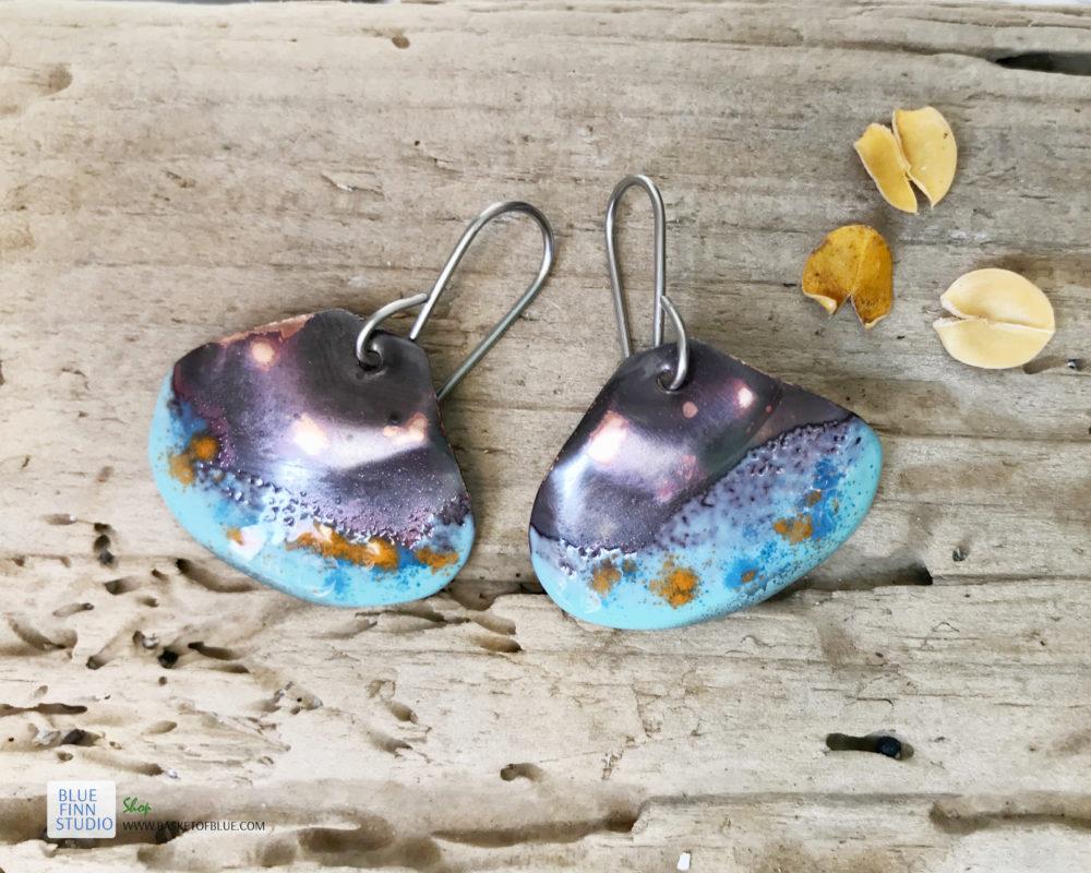 aqua blue enameled copper shell earrings