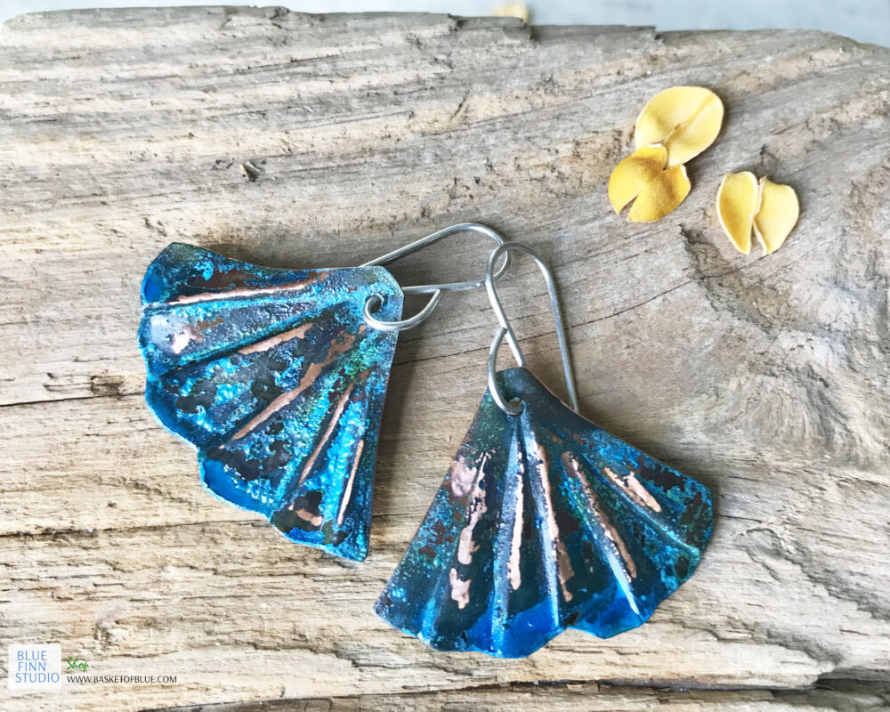 copper blue patina mermaid tail earrings