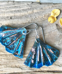 copper blue patina mermaid tail earrings