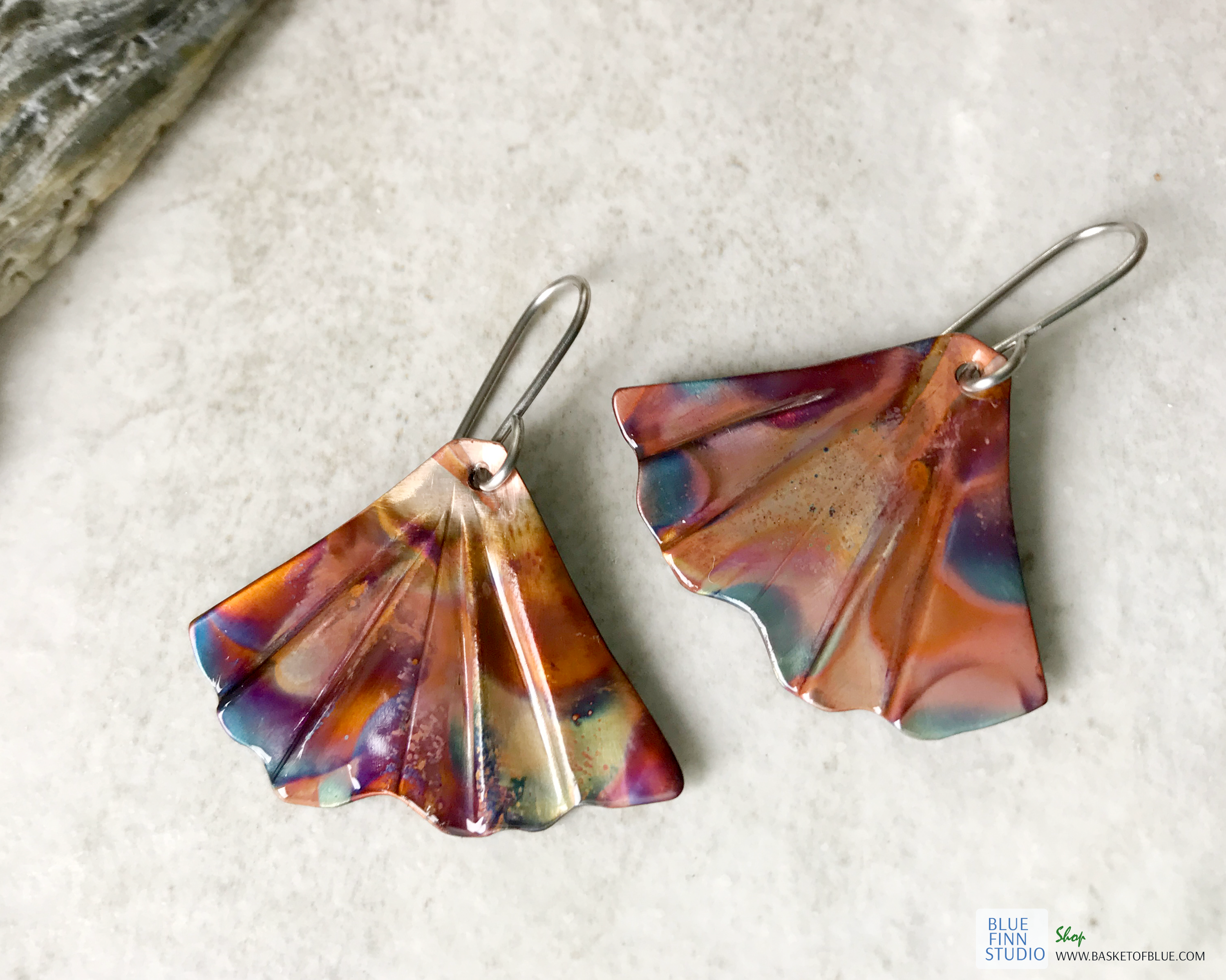 Mermaid tail Earrings Flamed Copper