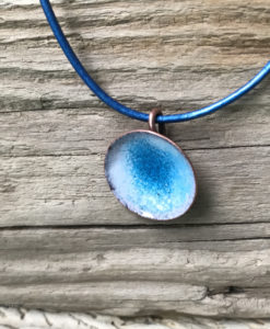 Blue enamel water pod pendant handmade copper