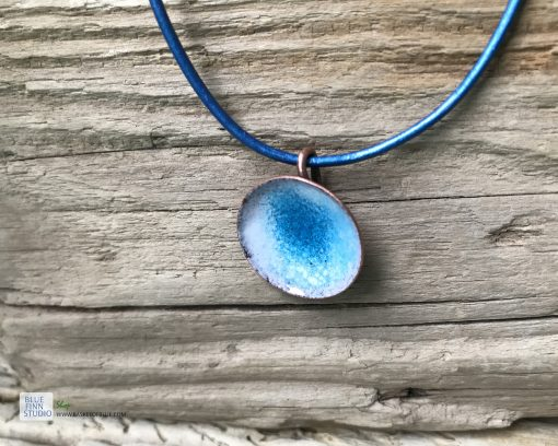 Blue enamel water pod pendant handmade copper