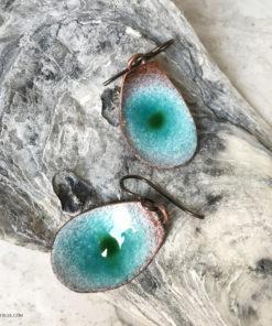 blue water pod enamel earrings
