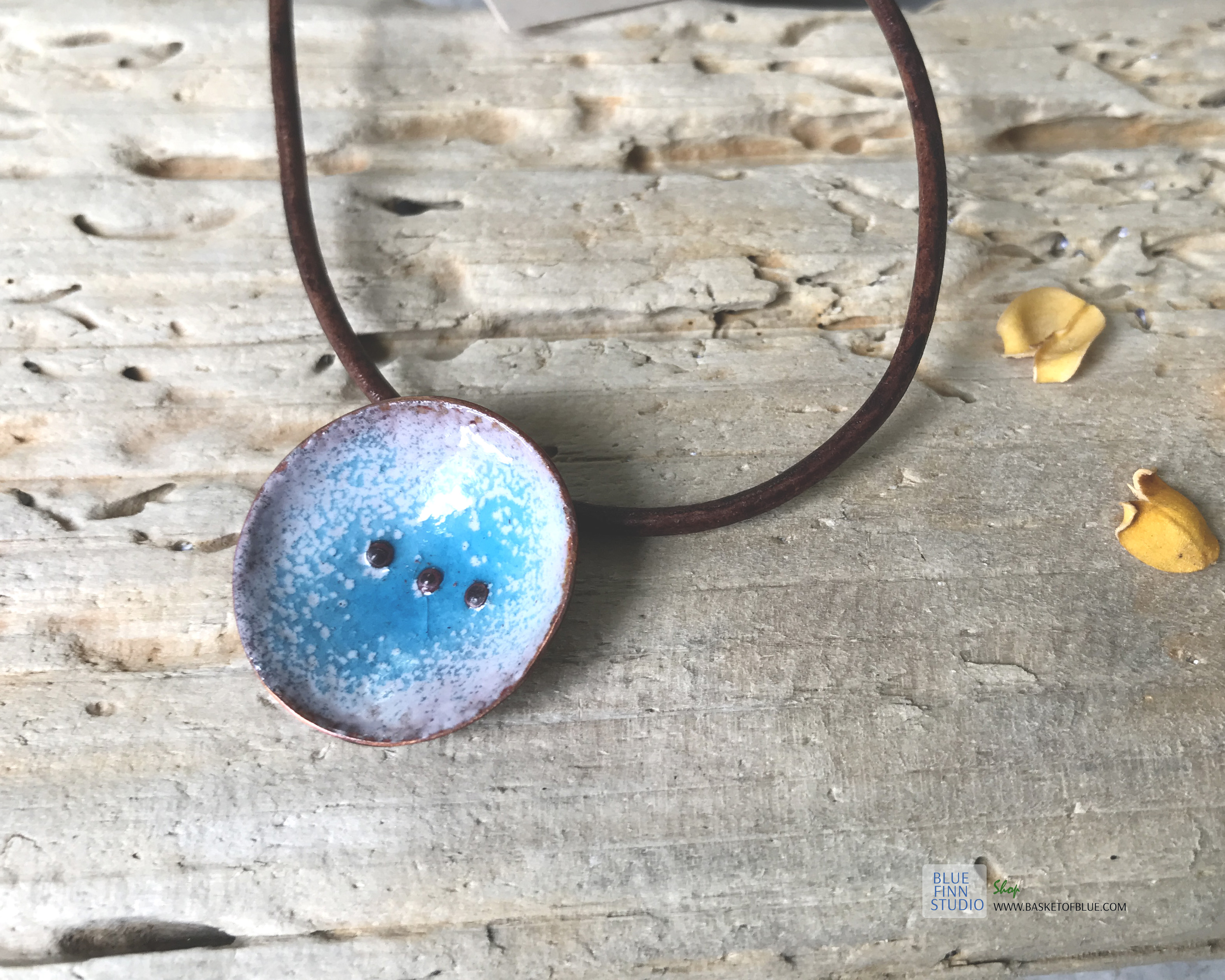 blue water pod necklace