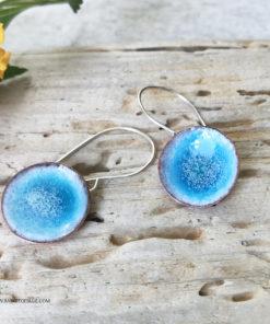 blue round water pod earrings enameled copper