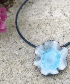 blue water pod ripple enamel pendant