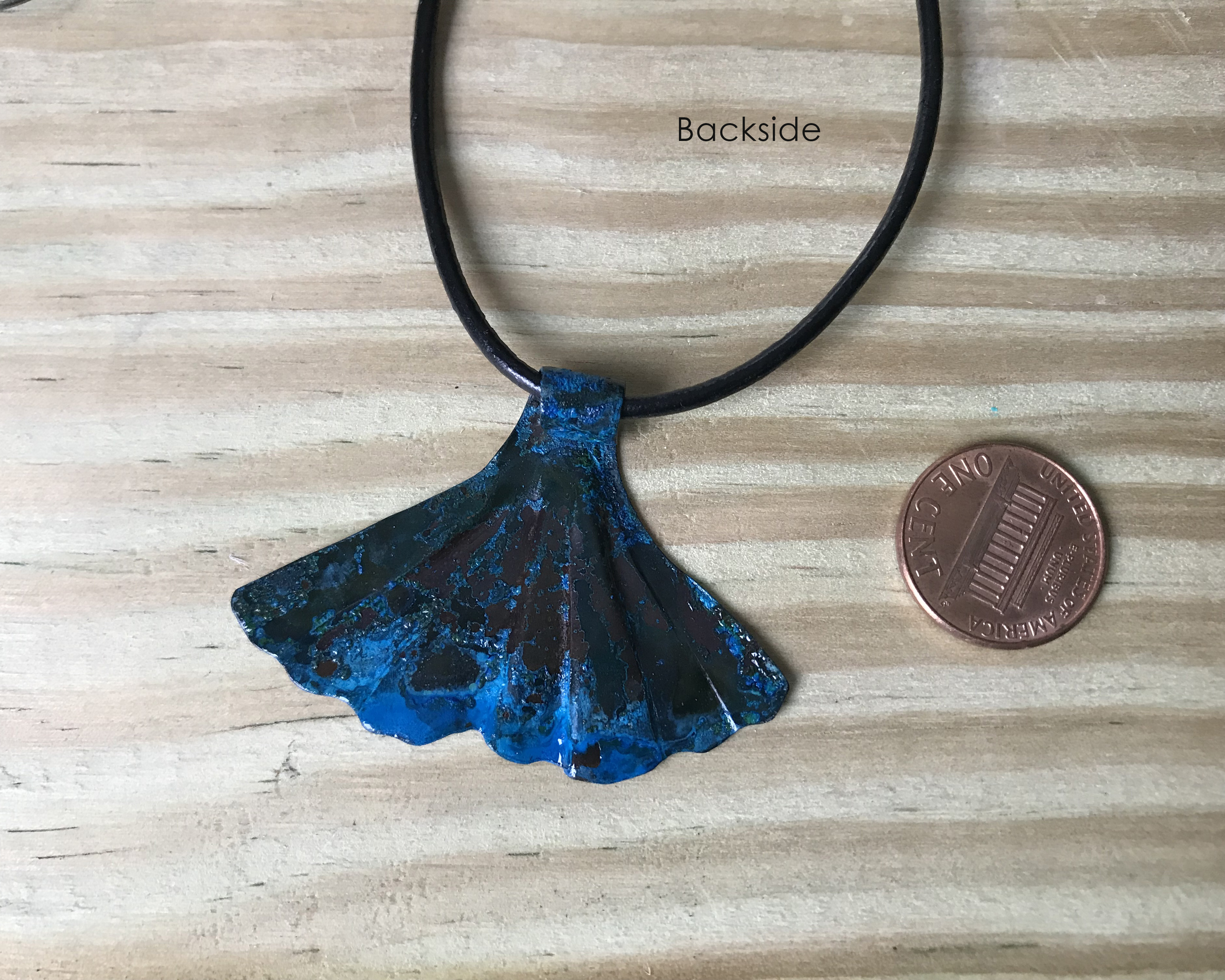 copper patina mermaid tail necklace