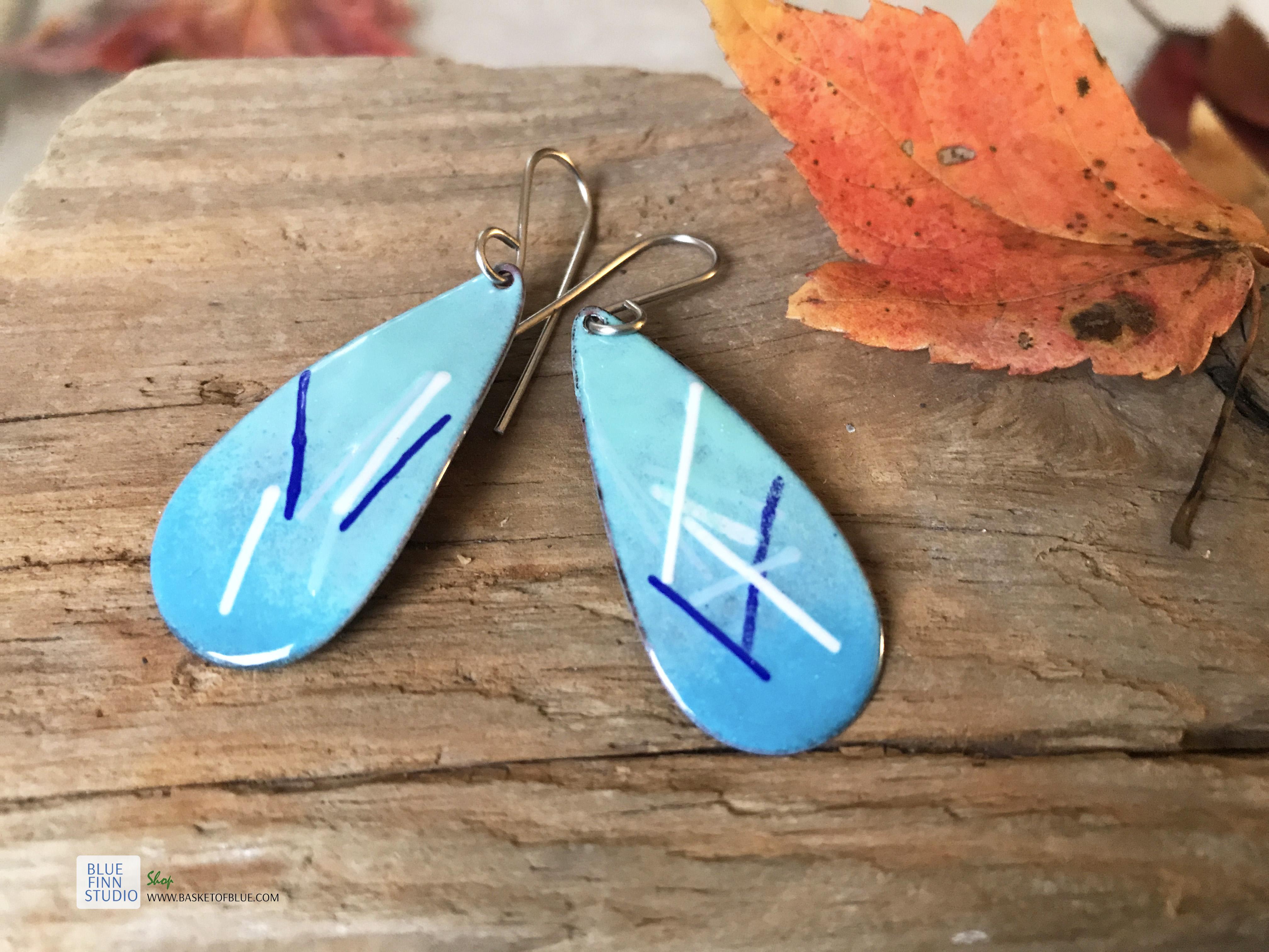 long blue oval earrings enameled copper