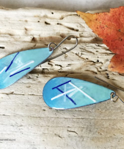 long blue oval earrings enameled copper