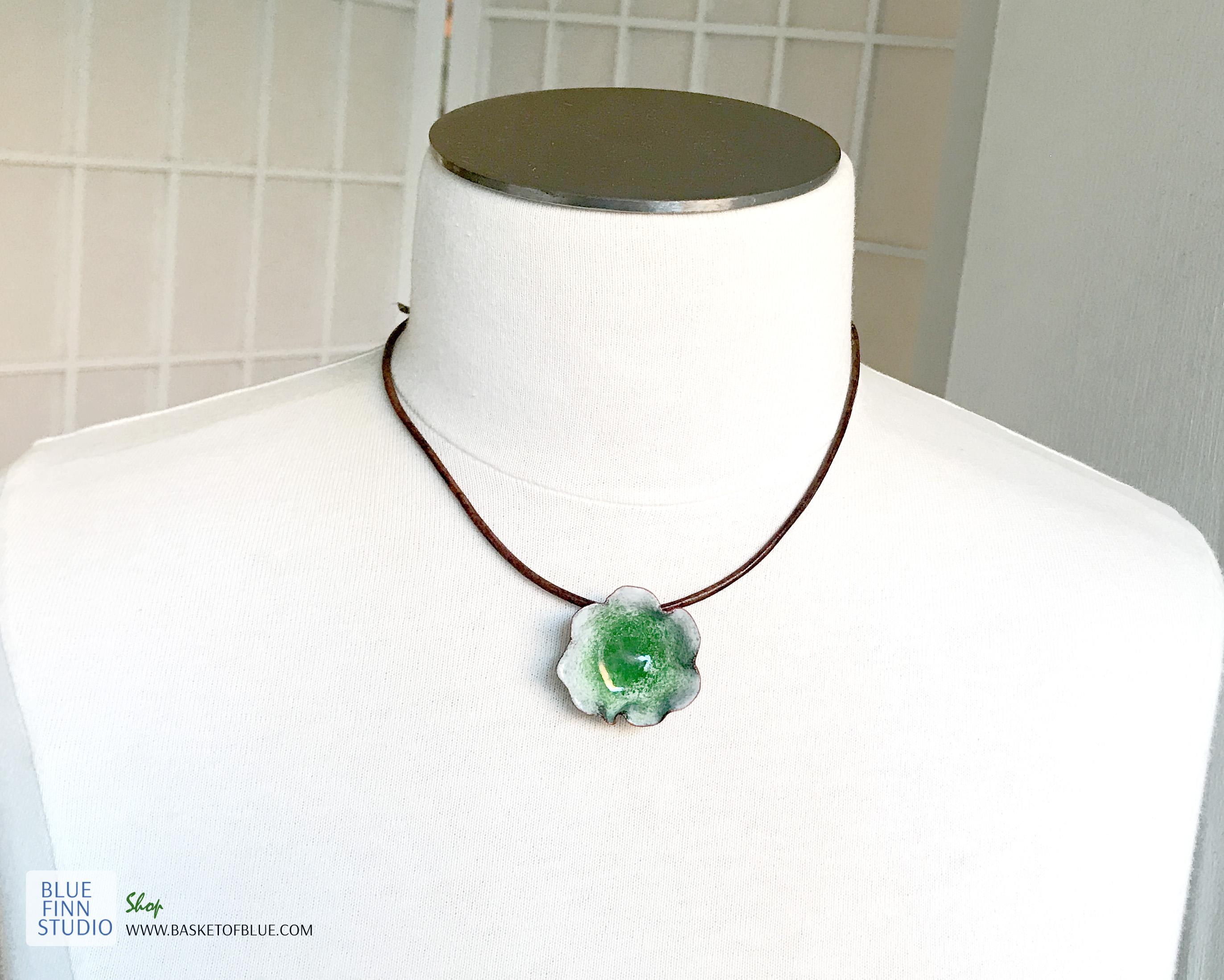 green enameled copper water pod pendant