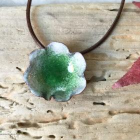 green enamel water pod pendant
