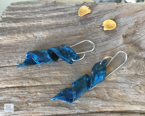 copper blue rustic patina twist earrings