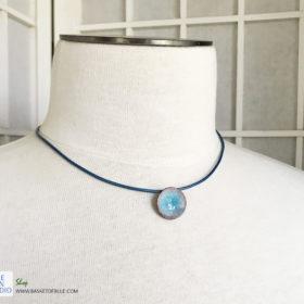 small blue enamel water pod pendant
