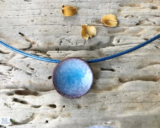 small blue enamel water pod pendant