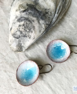 blue water enamel disc earrings