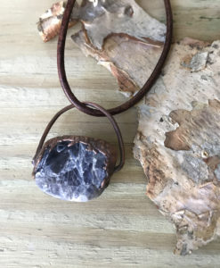 Iolite electroformed copper necklace
