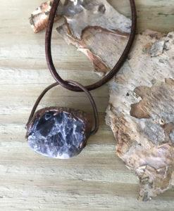 Iolite electroformed copper necklace