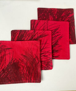 marimekko red coasters pine fabric