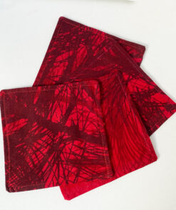 marimekko red coasters pine fabric