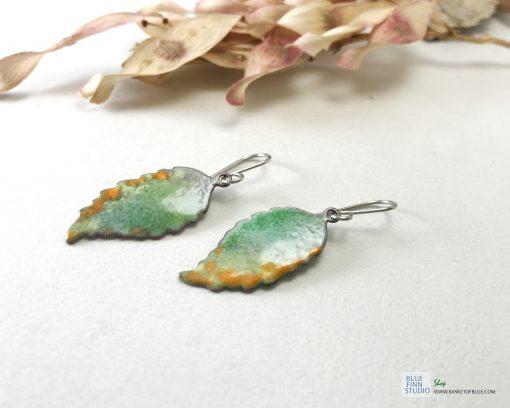 enameled copper fall leaf earrings
