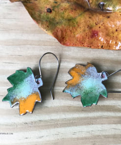 colorful enameled copper maple leaf earrings